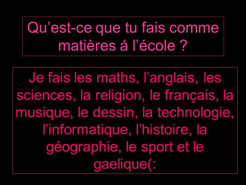 Quest-ce que tu fais comme matières á lécole ? Je fais les maths, langlais, les sciences, la religion, le français, la musique, le dessin, la technolo