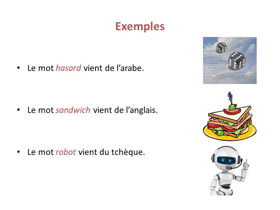Exemples Le mot hasard vient de larabe. Le mot sandwich vient de langlais. Le mot robot vient du tchèque.