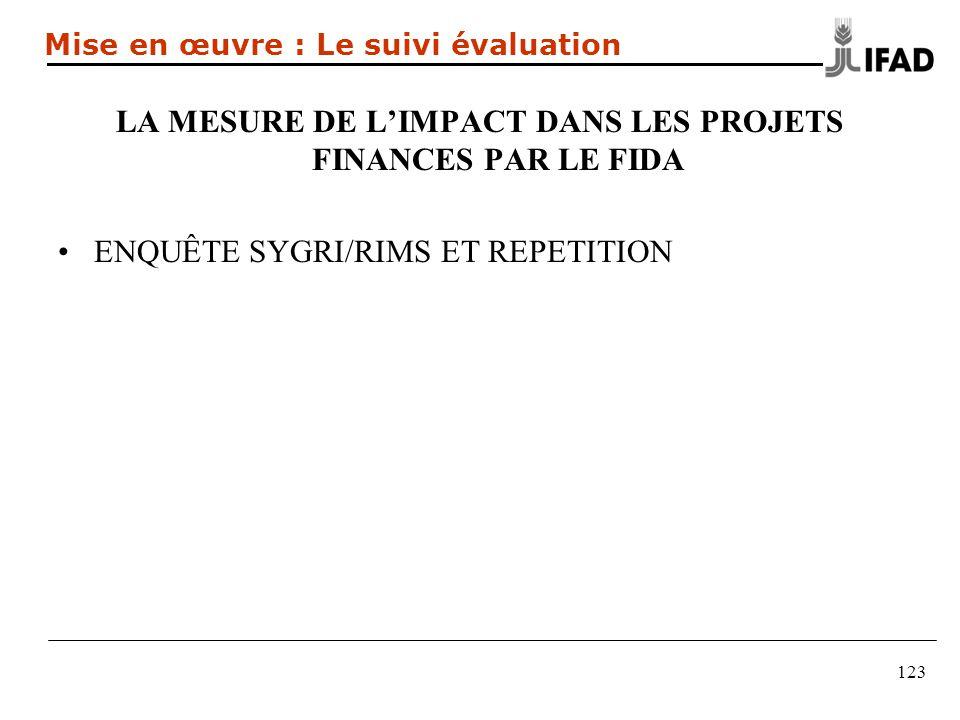 LA MESURE DE LIMPACT DANS LES PROJETS FINANCES PAR LE FIDA ENQUÊTE SYGRI/RIMS ET REPETITION 123 Mise en œuvre : Le suivi évaluation