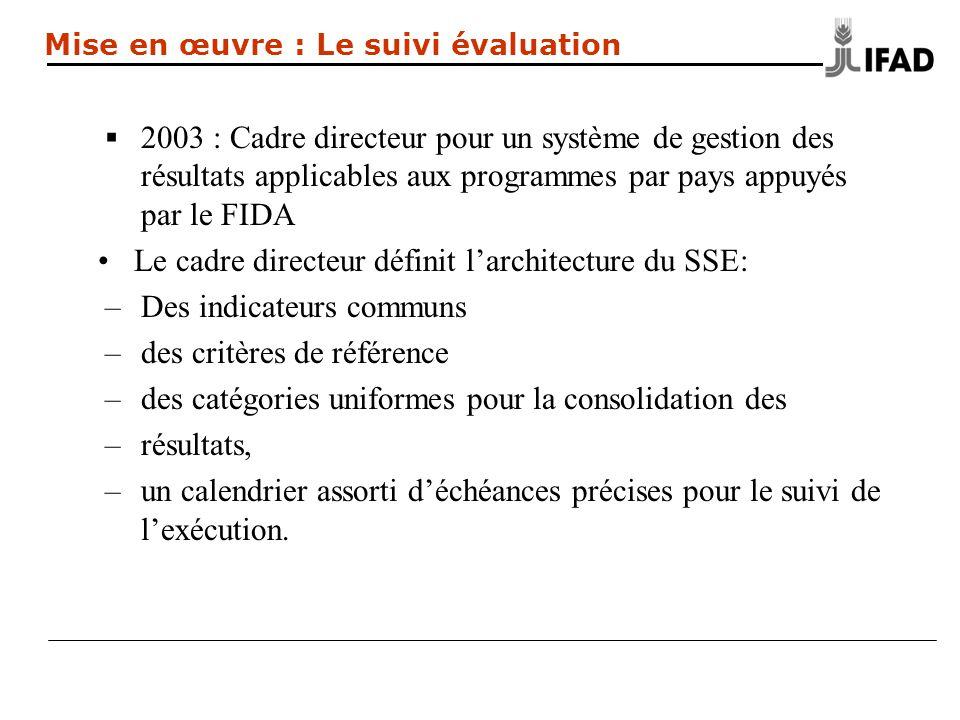 2003 : Cadre directeur pour un système de gestion des résultats applicables aux programmes par pays appuyés par le FIDA Le cadre directeur définit larchitecture du SSE: –Des indicateurs communs –des critères de référence –des catégories uniformes pour la consolidation des –résultats, –un calendrier assorti déchéances précises pour le suivi de lexécution.