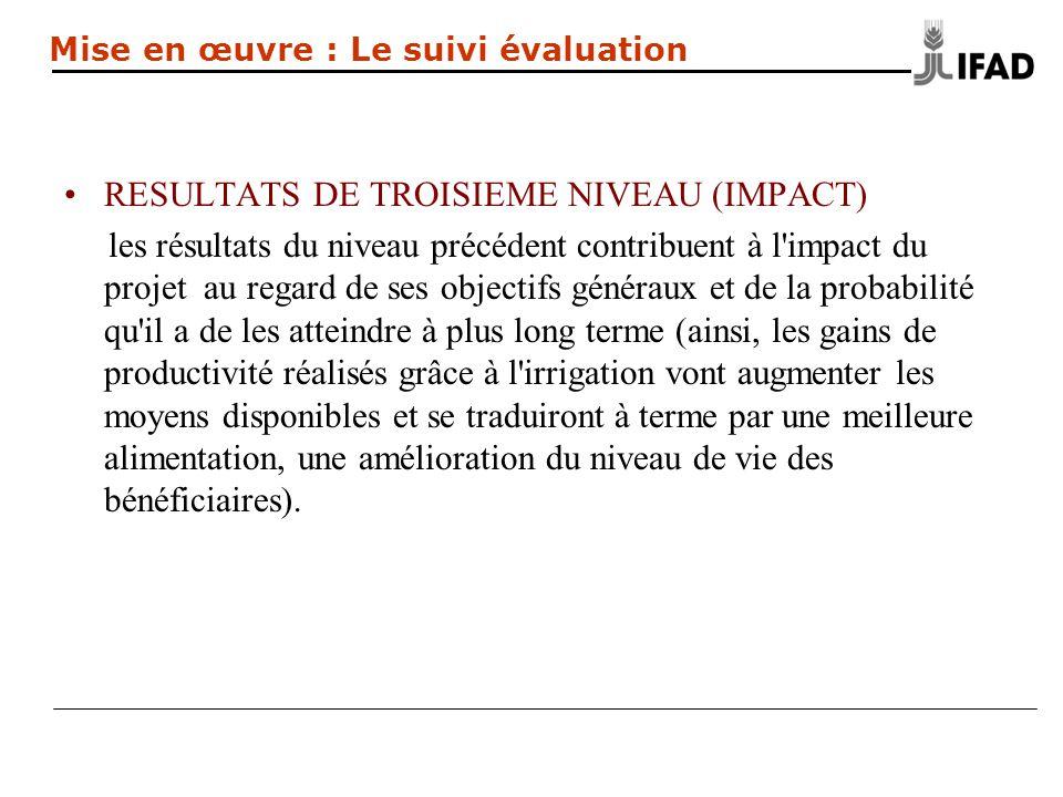 RESULTATS DE TROISIEME NIVEAU (IMPACT) les résultats du niveau précédent contribuent à l'impact du projet au regard de ses objectifs généraux et de la
