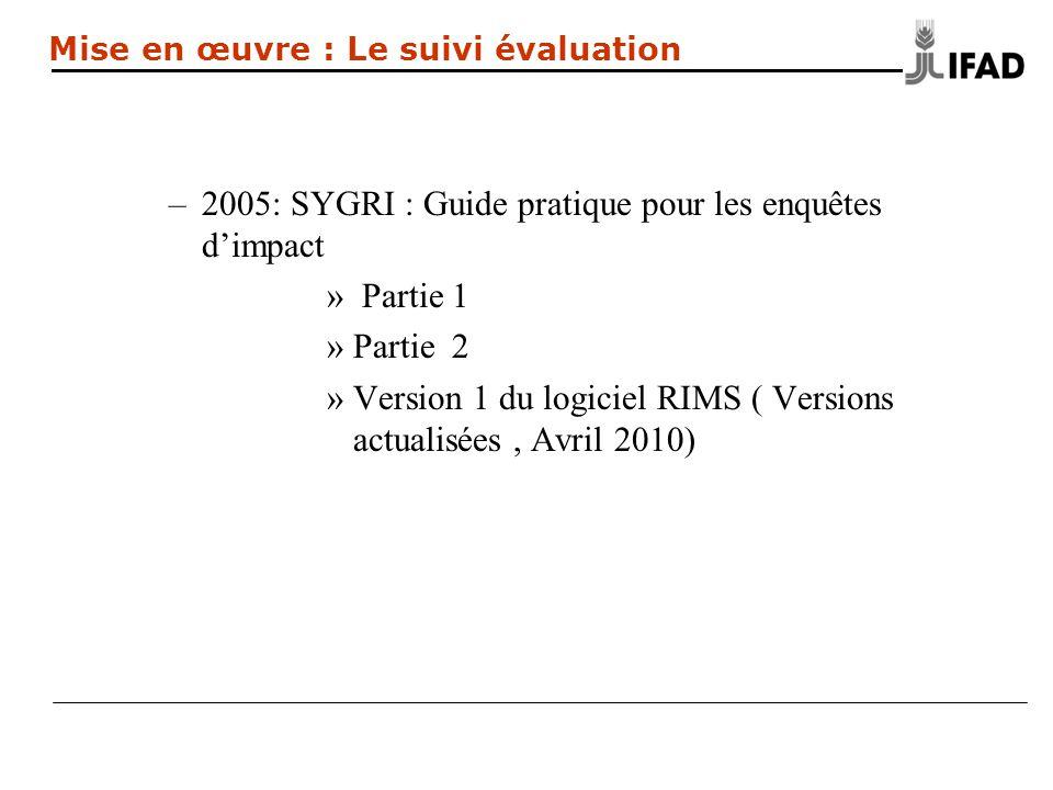 –2005: SYGRI : Guide pratique pour les enquêtes dimpact » Partie 1 »Partie 2 »Version 1 du logiciel RIMS ( Versions actualisées, Avril 2010) Mise en œuvre : Le suivi évaluation