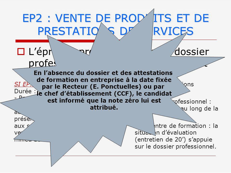 Lépreuve prend appui sur un dossier professionnel élaboré par le candidat (4 pages maximum + introduction + conclusion) EP2 : VENTE DE PRODUITS ET DE