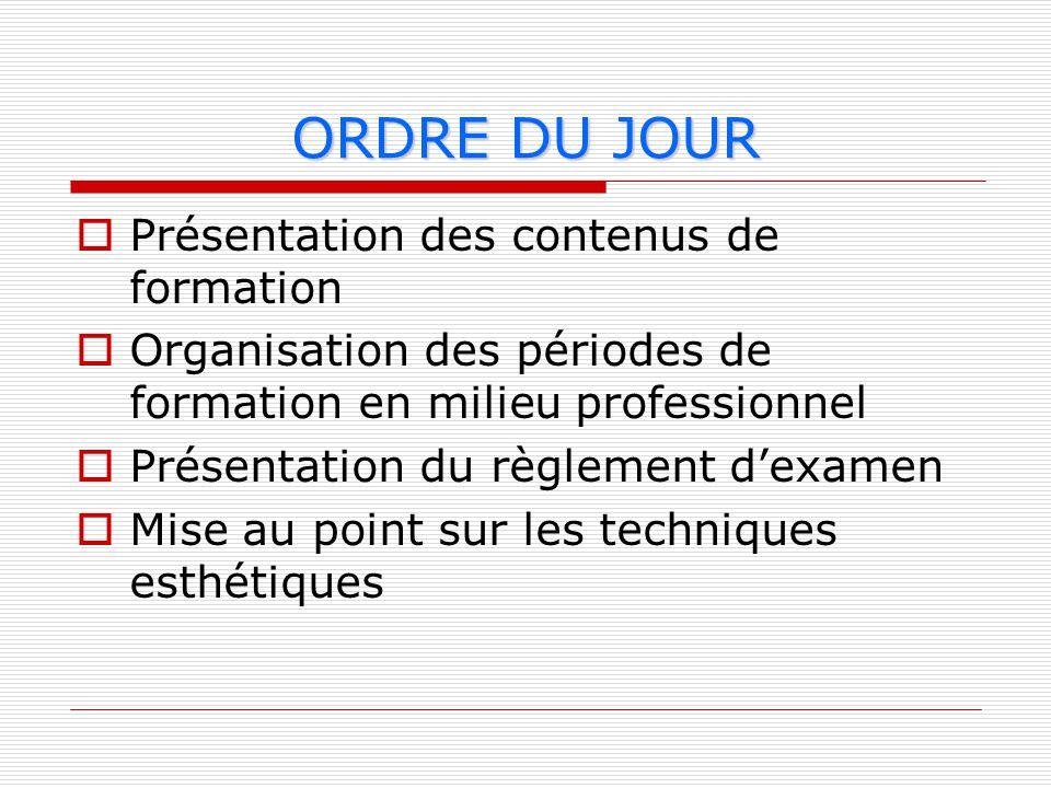 ORDRE DU JOUR Présentation des contenus de formation Organisation des périodes de formation en milieu professionnel Présentation du règlement dexamen