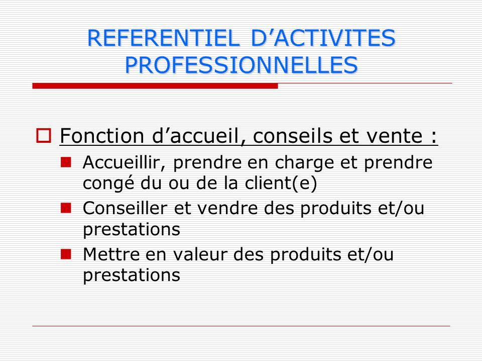 Fonction daccueil, conseils et vente : Accueillir, prendre en charge et prendre congé du ou de la client(e) Conseiller et vendre des produits et/ou pr
