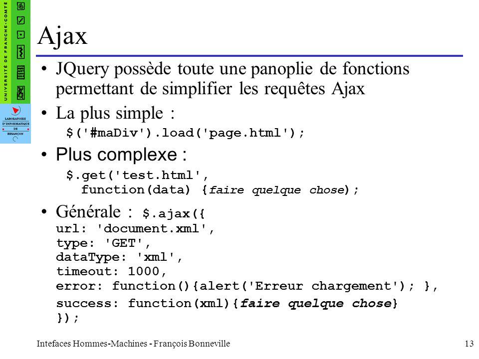 Intefaces Hommes-Machines - François Bonneville13 Ajax JQuery possède toute une panoplie de fonctions permettant de simplifier les requêtes Ajax La pl