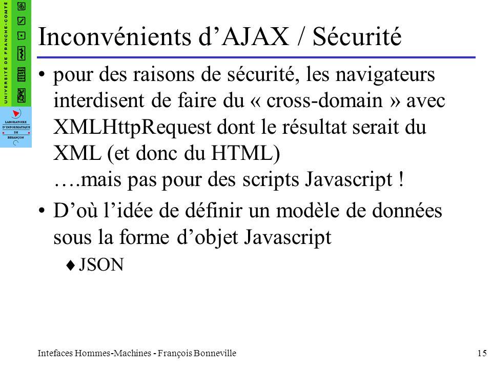 Intefaces Hommes-Machines - François Bonneville15 Inconvénients dAJAX / Sécurité pour des raisons de sécurité, les navigateurs interdisent de faire du