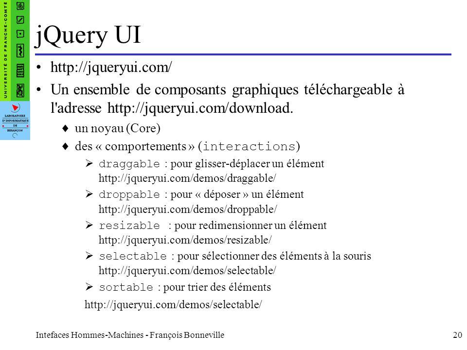 Intefaces Hommes-Machines - François Bonneville20 jQuery UI http://jqueryui.com/ Un ensemble de composants graphiques téléchargeable à l'adresse http: