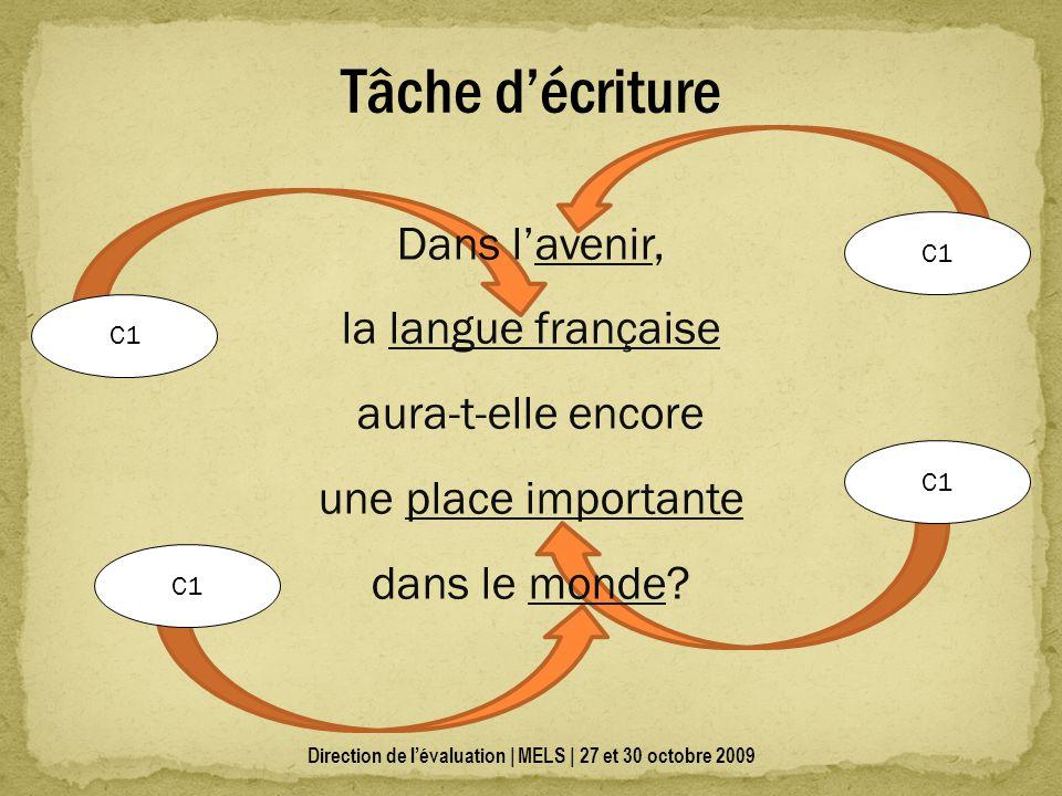 Direction de lévaluation | MELS | 27 et 30 octobre 2009 Tâche décriture Dans lavenir, la langue française aura-t-elle encore une place importante dans le monde.