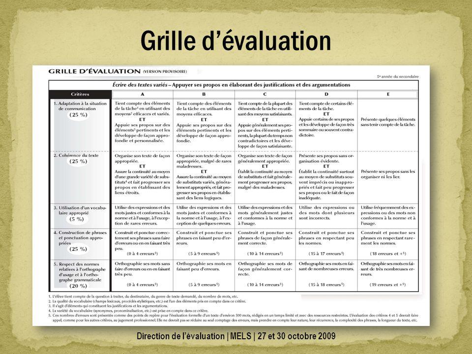 Direction de lévaluation | MELS | 27 et 30 octobre 2009 Grille dévaluation