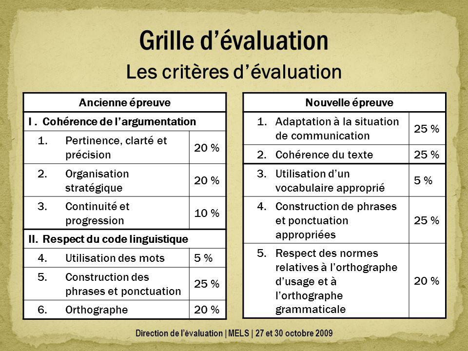 Direction de lévaluation | MELS | 27 et 30 octobre 2009 Grille dévaluation Ancienne épreuve I.