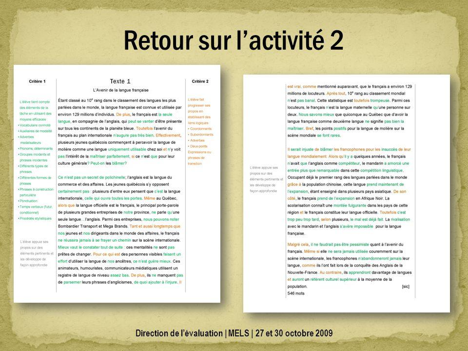 Direction de lévaluation | MELS | 27 et 30 octobre 2009 Retour sur lactivité 2 Texte 1