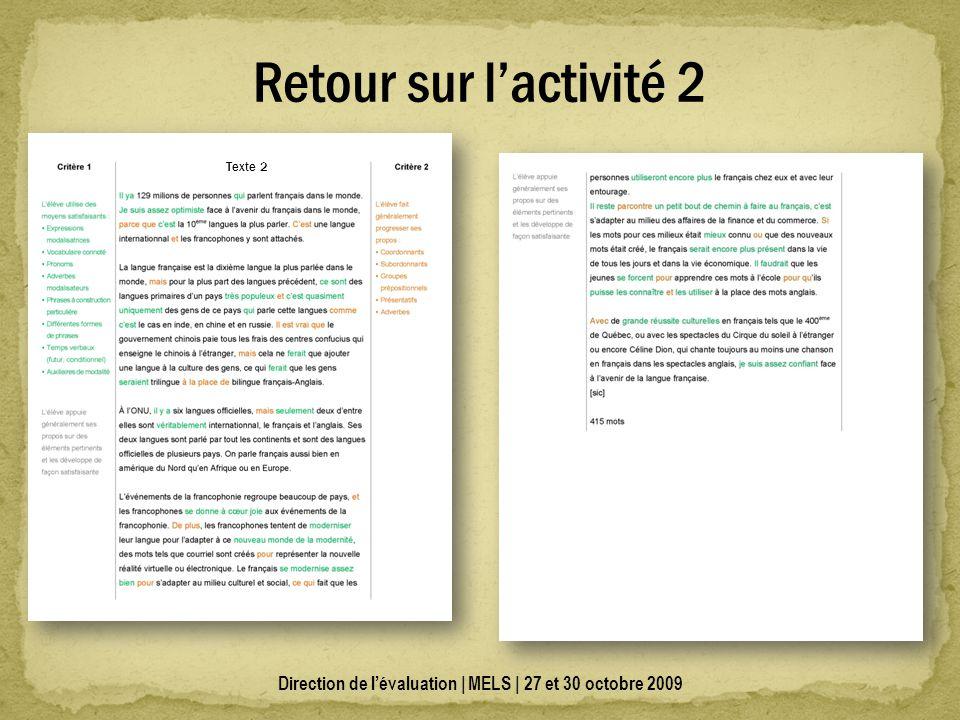 Direction de lévaluation | MELS | 27 et 30 octobre 2009 Retour sur lactivité 2 Texte 2