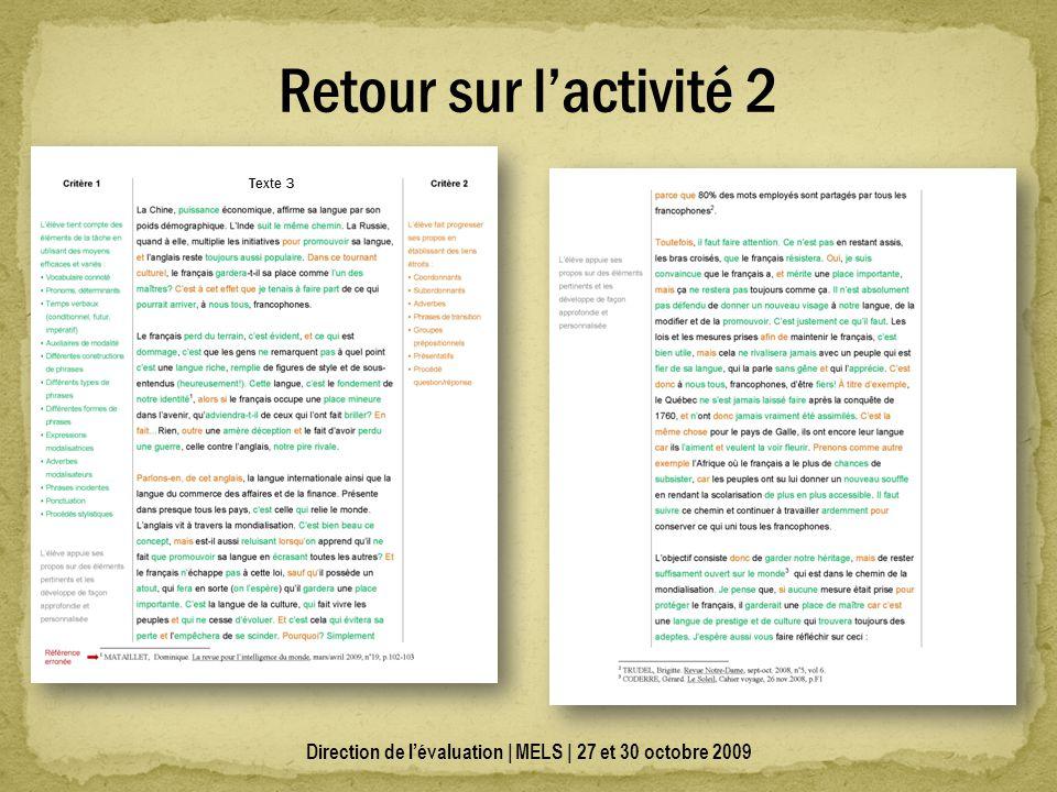 Direction de lévaluation | MELS | 27 et 30 octobre 2009 Retour sur lactivité 2 Texte 3