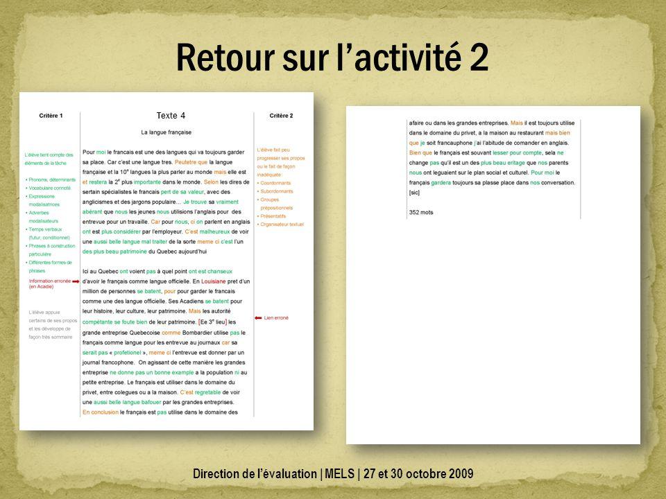 Direction de lévaluation | MELS | 27 et 30 octobre 2009 Retour sur lactivité 2 Texte 4