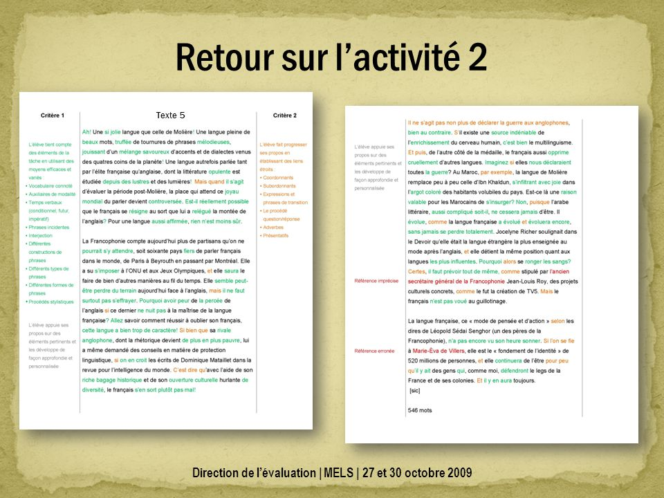 Direction de lévaluation | MELS | 27 et 30 octobre 2009 Retour sur lactivité 2 Texte 5