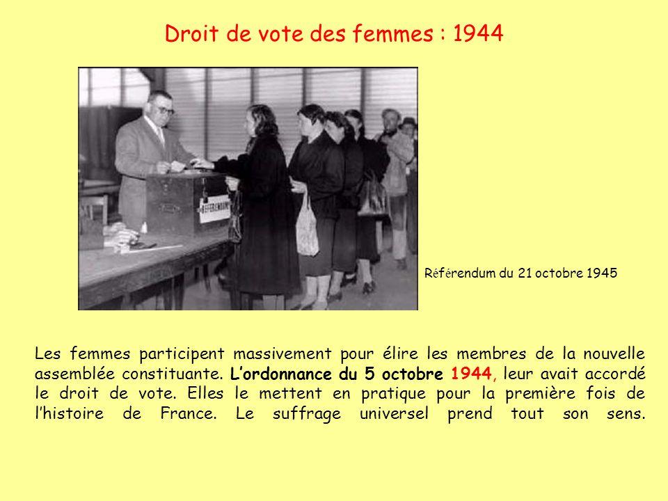 Droit de vote des femmes : 1944 R é f é rendum du 21 octobre 1945 Les femmes participent massivement pour élire les membres de la nouvelle assemblée c