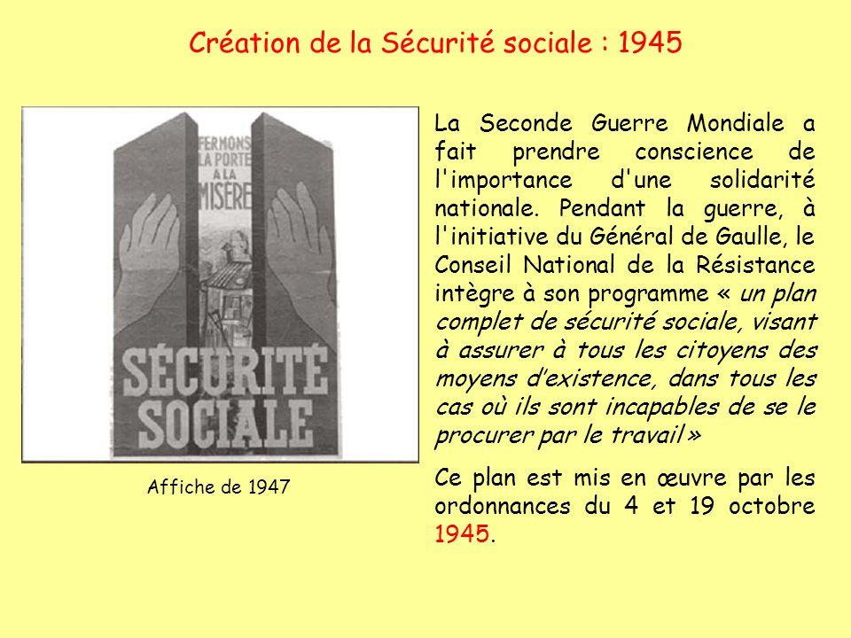 Création de la Sécurité sociale : 1945 La Seconde Guerre Mondiale a fait prendre conscience de l'importance d'une solidarité nationale. Pendant la gue