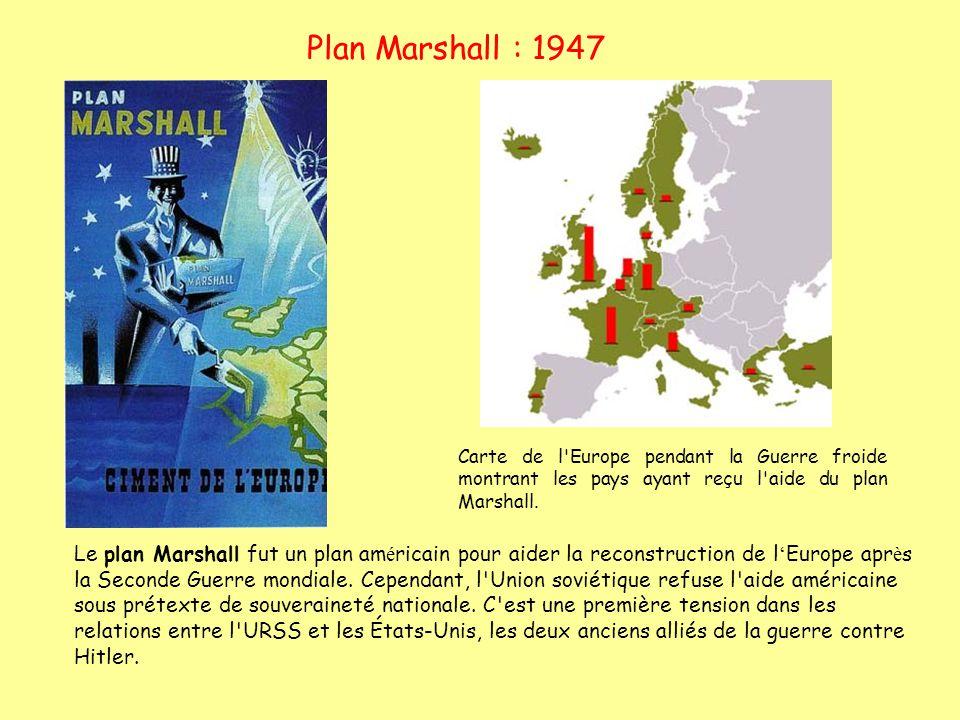 Plan Marshall : 1947 Carte de l'Europe pendant la Guerre froide montrant les pays ayant reçu l'aide du plan Marshall. Le plan Marshall fut un plan am