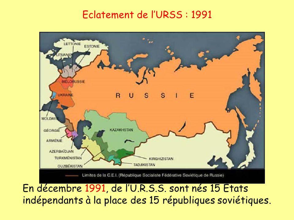 Eclatement de lURSS : 1991 En décembre 1991, de lU.R.S.S. sont nés 15 Etats indépendants à la place des 15 républiques soviétiques.