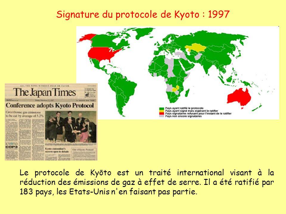 Signature du protocole de Kyoto : 1997 Le protocole de Kyōto est un traité international visant à la réduction des émissions de gaz à effet de serre.