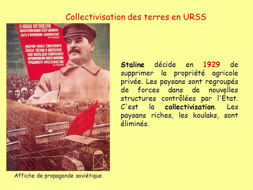 Collectivisation des terres en URSS Staline décide en 1929 de supprimer la propriété agricole privée. Les paysans sont regroupés de forces dans de nou