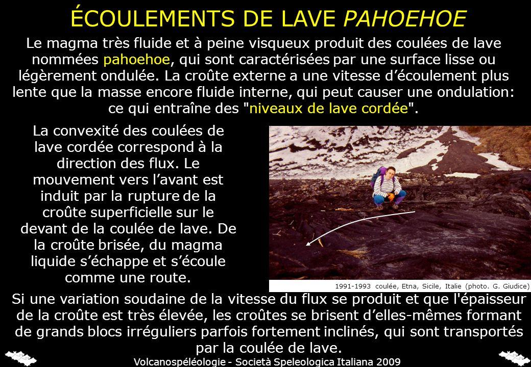 ÉCOULEMENTS DE LAVE PAHOEHOE Le magma très fluide et à peine visqueux produit des coulées de lave nommées pahoehoe, qui sont caractérisées par une surface lisse ou légèrement ondulée.