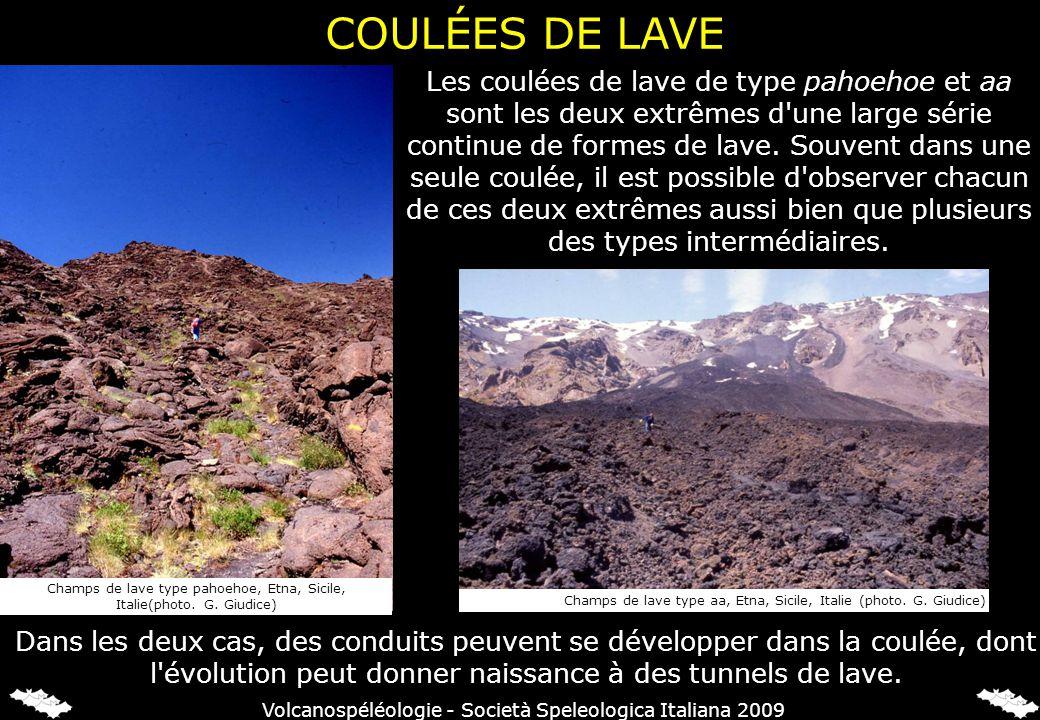 Les coulées de lave de type pahoehoe et aa sont les deux extrêmes d'une large série continue de formes de lave. Souvent dans une seule coulée, il est