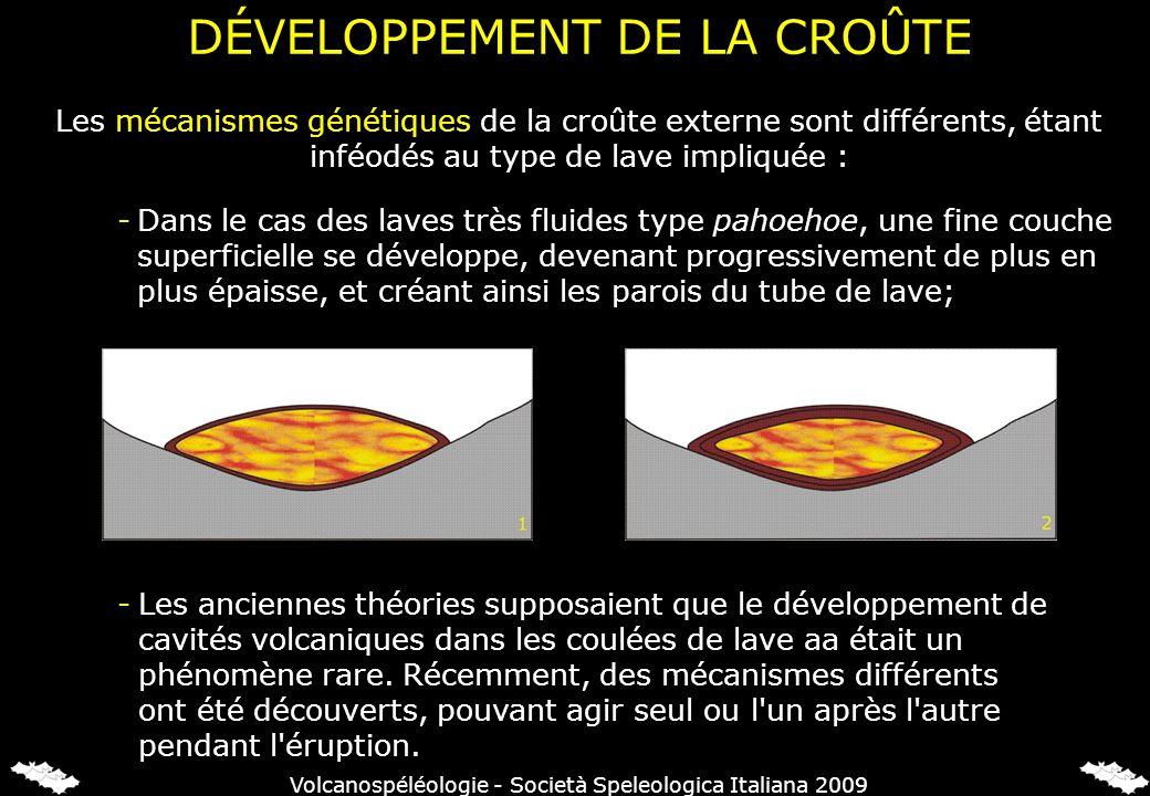 Les mécanismes génétiques de la croûte externe sont différents, étant inféodés au type de lave impliquée : -Les anciennes théories supposaient que le