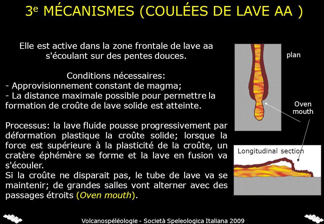 Elle est active dans la zone frontale de lave aa s'écoulant sur des pentes douces. Conditions nécessaires: - Approvisionnement constant de magma; - La
