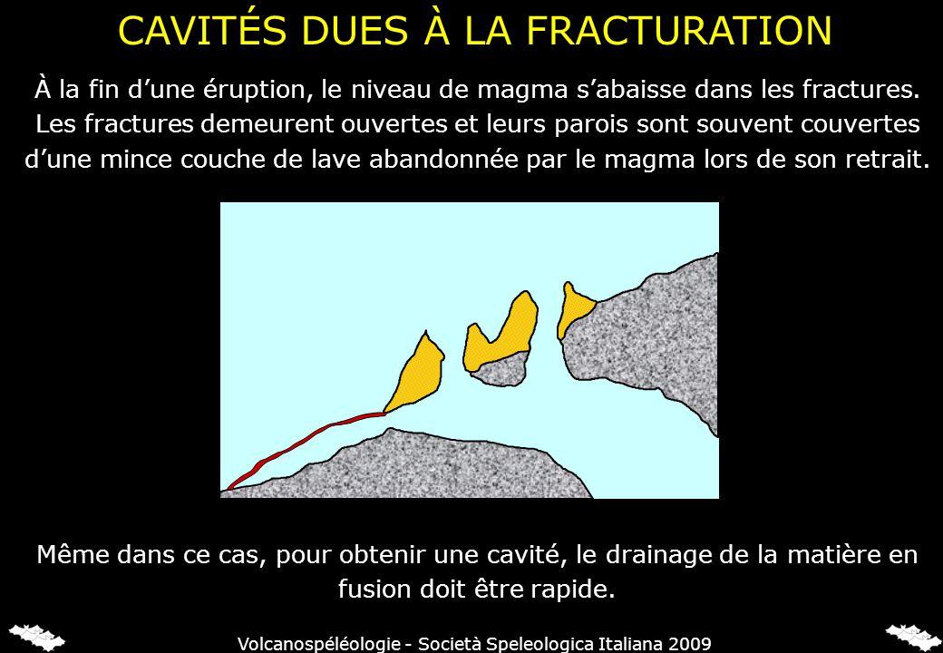À la fin dune éruption, le niveau de magma sabaisse dans les fractures. Les fractures demeurent ouvertes et leurs parois sont souvent couvertes dune m