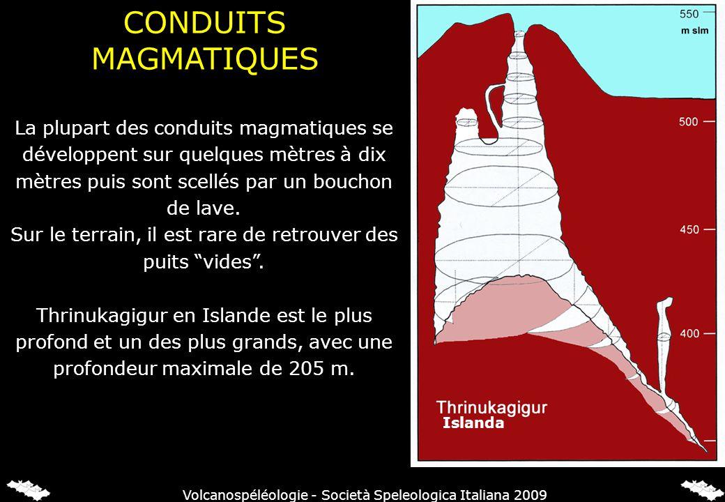 La plupart des conduits magmatiques se développent sur quelques mètres à dix mètres puis sont scellés par un bouchon de lave. Sur le terrain, il est r