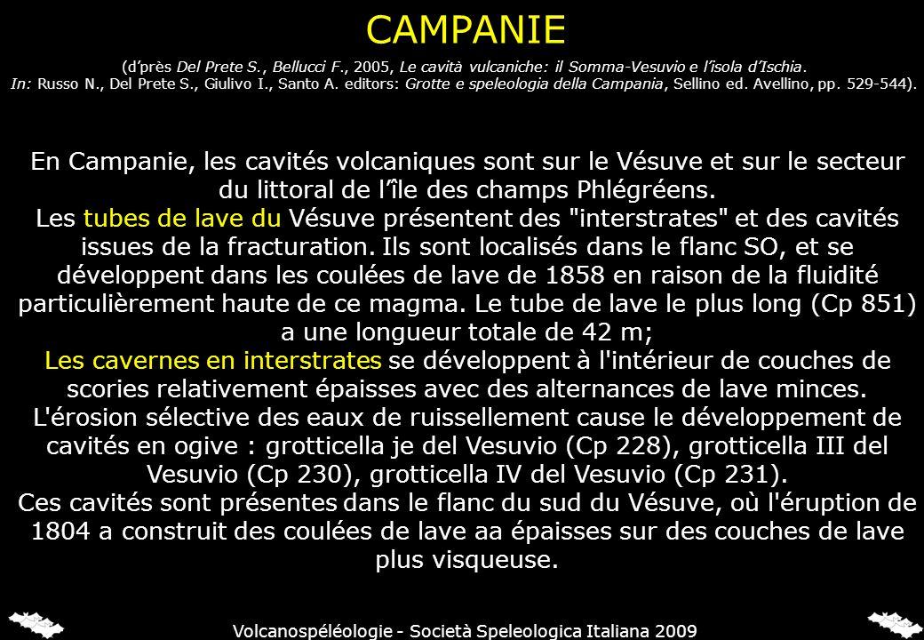 CAMPANIE En Campanie, les cavités volcaniques sont sur le Vésuve et sur le secteur du littoral de lîle des champs Phlégréens. Les tubes de lave du Vés