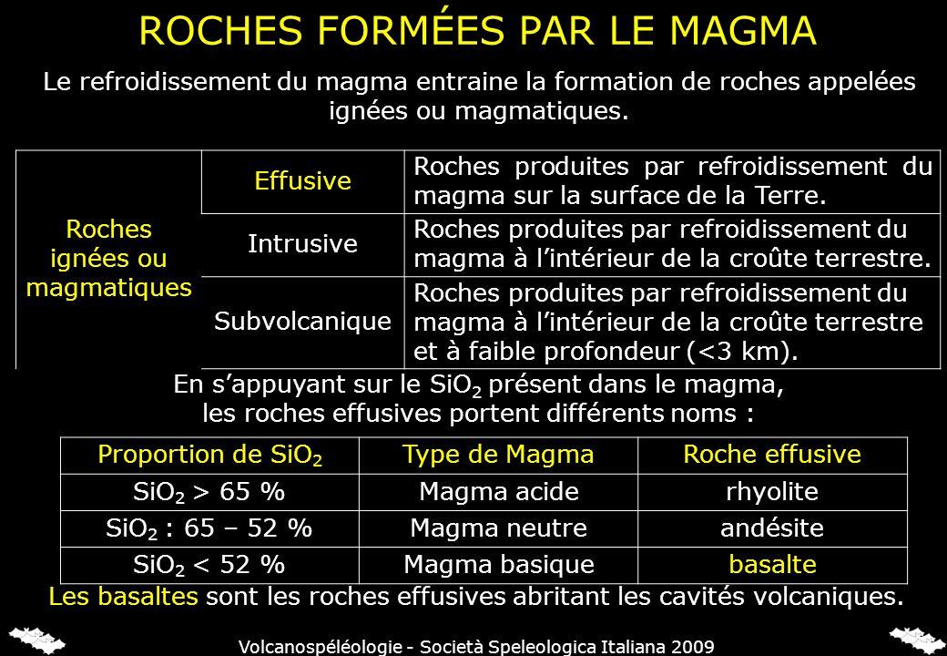 ROCHES FORMÉES PAR LE MAGMA Le refroidissement du magma entraine la formation de roches appelées ignées ou magmatiques. Roches ignées ou magmatiques E