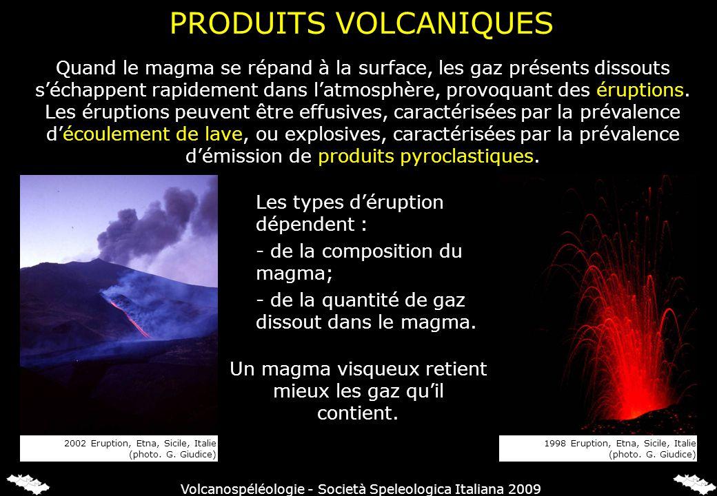 PRODUITS VOLCANIQUES Un magma visqueux retient mieux les gaz quil contient. Les types déruption dépendent : - de la composition du magma; - de la quan