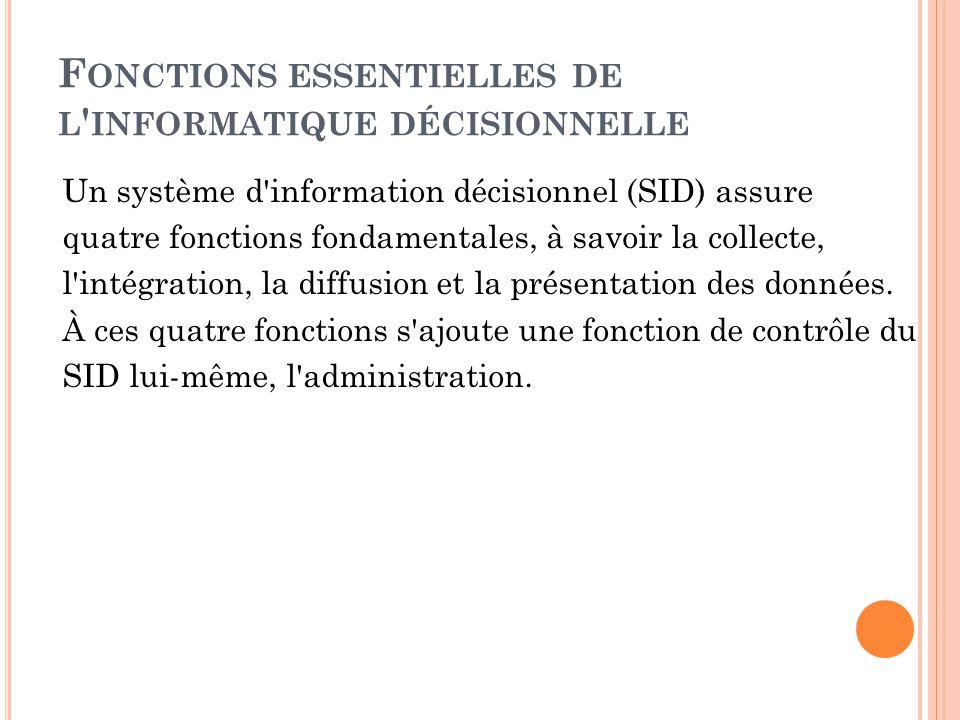 F ONCTIONS ESSENTIELLES DE L ' INFORMATIQUE DÉCISIONNELLE Un système d'information décisionnel (SID) assure quatre fonctions fondamentales, à savoir l