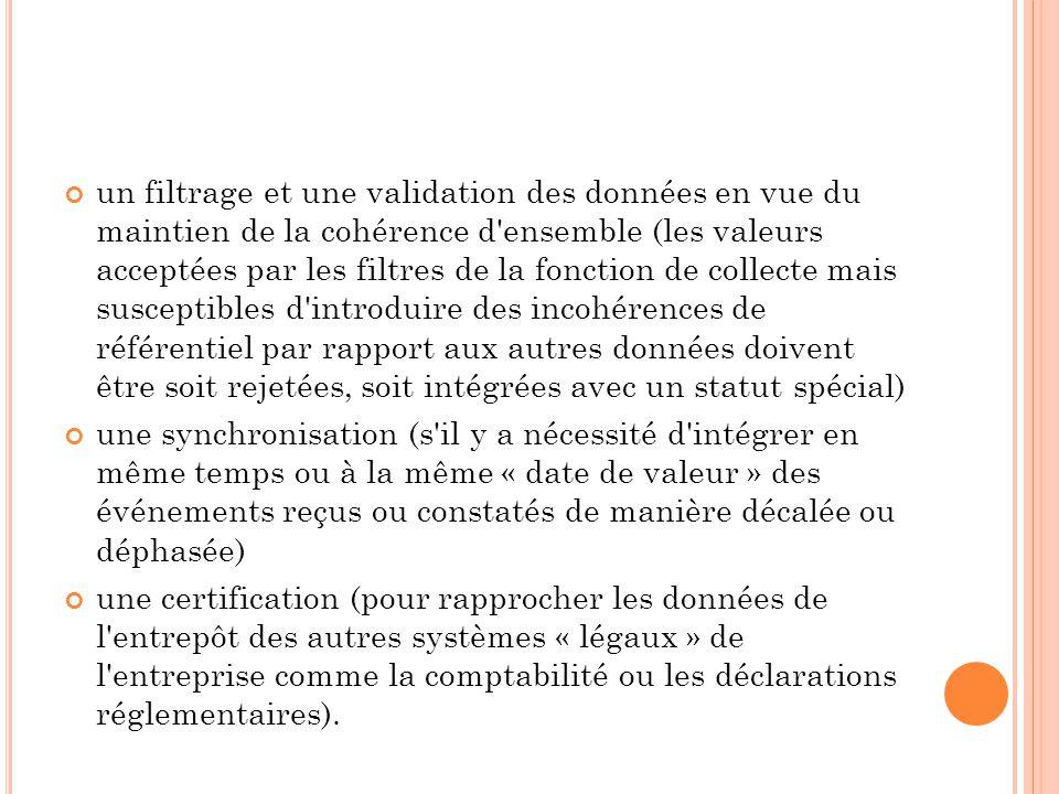 un filtrage et une validation des données en vue du maintien de la cohérence d'ensemble (les valeurs acceptées par les filtres de la fonction de colle