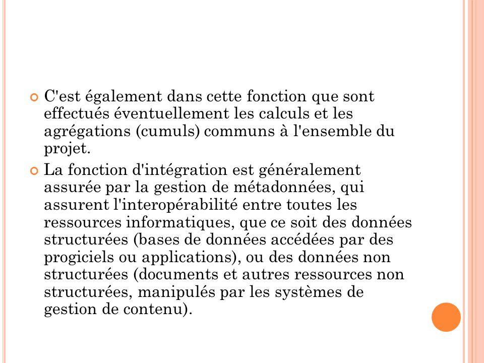C'est également dans cette fonction que sont effectués éventuellement les calculs et les agrégations (cumuls) communs à l'ensemble du projet. La fonct