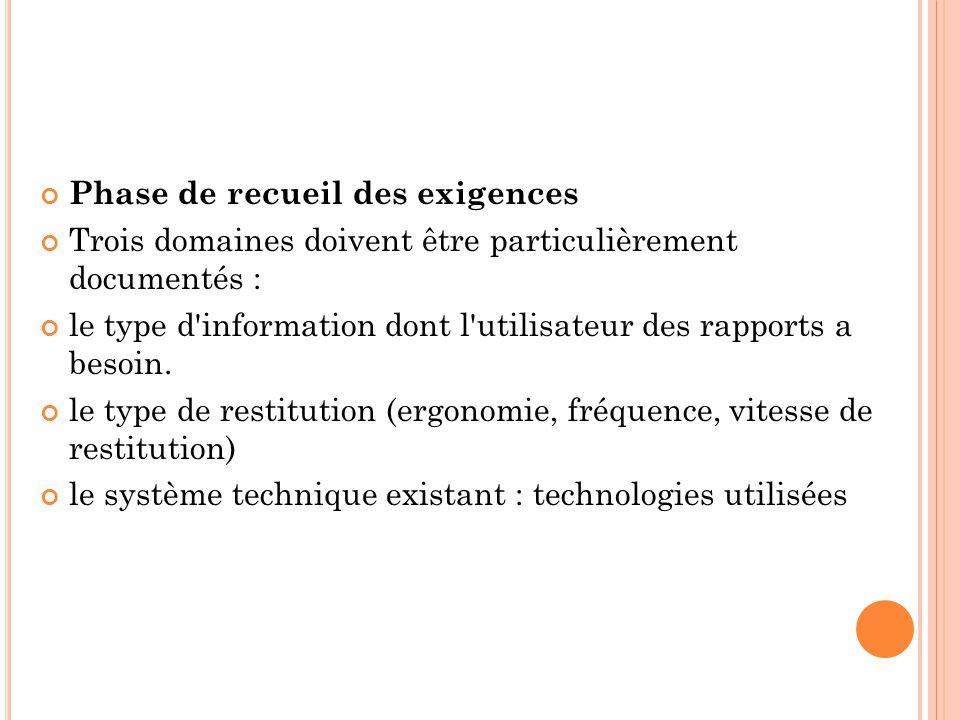 Phase de recueil des exigences Trois domaines doivent être particulièrement documentés : le type d'information dont l'utilisateur des rapports a besoi