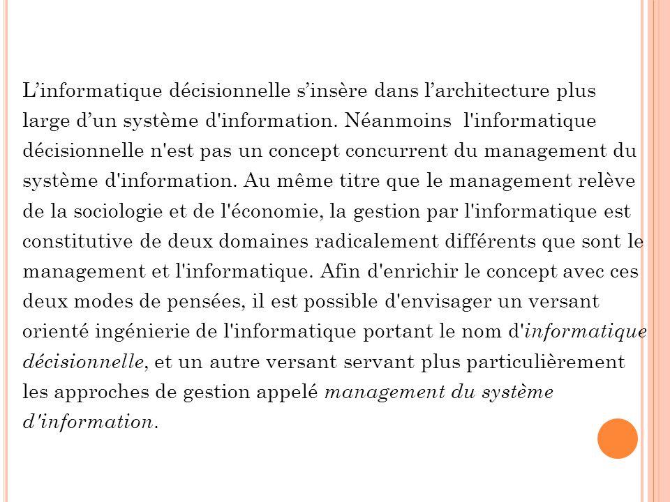 Linformatique décisionnelle sinsère dans larchitecture plus large dun système d'information. Néanmoins l'informatique décisionnelle n'est pas un conce