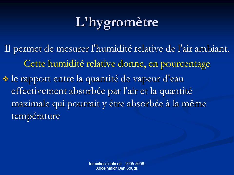 formation continue 2005-5006- Abdelhafidh Ben Souda L hygromètre Il permet de mesurer l humidité relative de l air ambiant.
