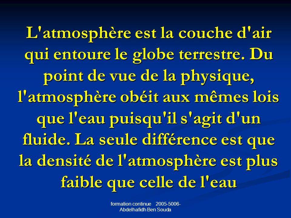 L atmosphère est la couche d air qui entoure le globe terrestre.