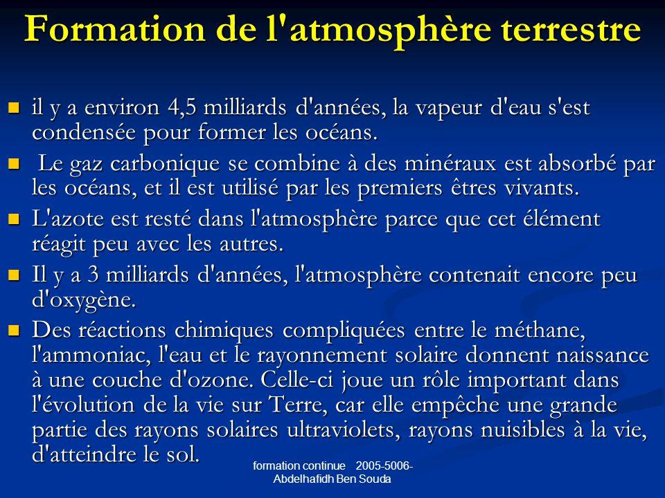 formation continue 2005-5006- Abdelhafidh Ben Souda Formation de l atmosphère terrestre il y a environ 4,5 milliards d années, la vapeur d eau s est condensée pour former les océans.