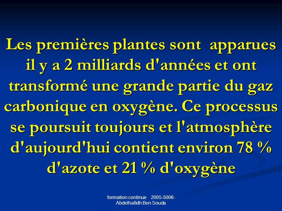 formation continue 2005-5006- Abdelhafidh Ben Souda Les premières plantes sont apparues il y a 2 milliards d années et ont transformé une grande partie du gaz carbonique en oxygène.