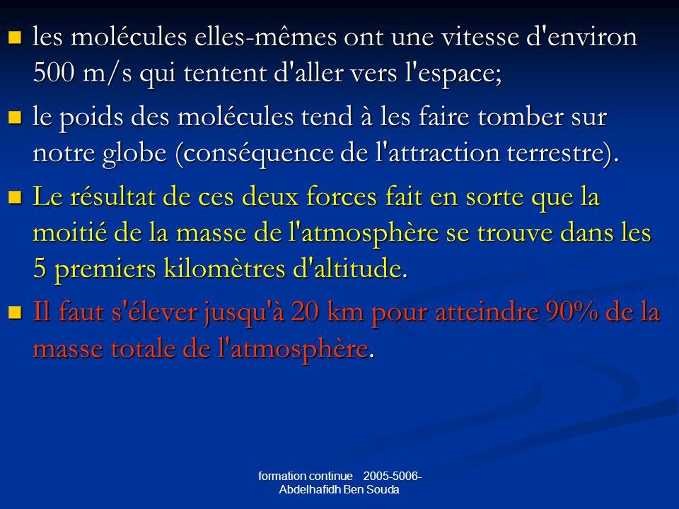 formation continue 2005-5006- Abdelhafidh Ben Souda les molécules elles-mêmes ont une vitesse d environ 500 m/s qui tentent d aller vers l espace; les molécules elles-mêmes ont une vitesse d environ 500 m/s qui tentent d aller vers l espace; le poids des molécules tend à les faire tomber sur notre globe (conséquence de l attraction terrestre).