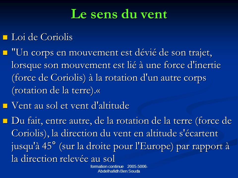 formation continue 2005-5006- Abdelhafidh Ben Souda Le sens du vent Loi de Coriolis Loi de Coriolis Un corps en mouvement est dévié de son trajet, lorsque son mouvement est lié à une force d inertie (force de Coriolis) à la rotation d un autre corps (rotation de la terre).« Un corps en mouvement est dévié de son trajet, lorsque son mouvement est lié à une force d inertie (force de Coriolis) à la rotation d un autre corps (rotation de la terre).« Vent au sol et vent d altitude Vent au sol et vent d altitude Du fait, entre autre, de la rotation de la terre (force de Coriolis), la direction du vent en altitude s écartent jusqu à 45° (sur la droite pour l Europe) par rapport à la direction relevée au sol Du fait, entre autre, de la rotation de la terre (force de Coriolis), la direction du vent en altitude s écartent jusqu à 45° (sur la droite pour l Europe) par rapport à la direction relevée au sol