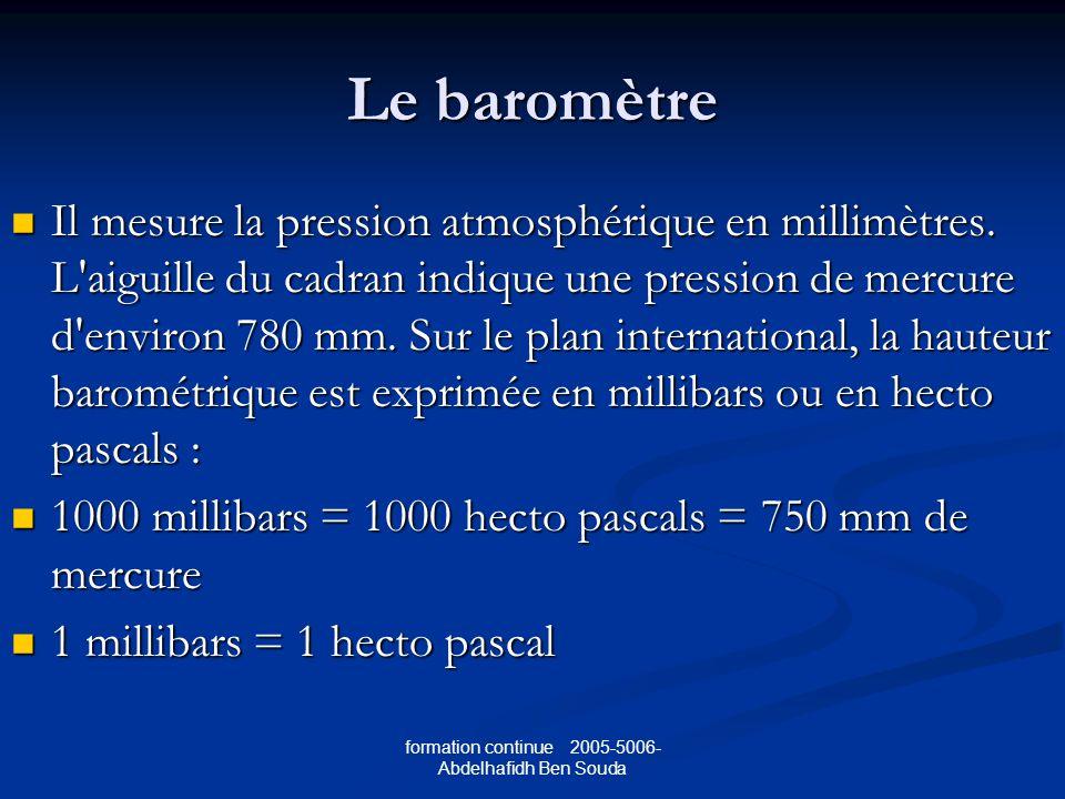 formation continue 2005-5006- Abdelhafidh Ben Souda Le baromètre Il mesure la pression atmosphérique en millimètres.