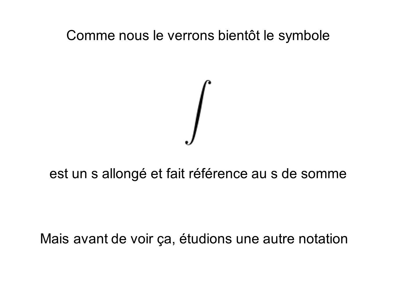 Comme nous le verrons bientôt le symbole est un s allongé et fait référence au s de somme Mais avant de voir ça, étudions une autre notation