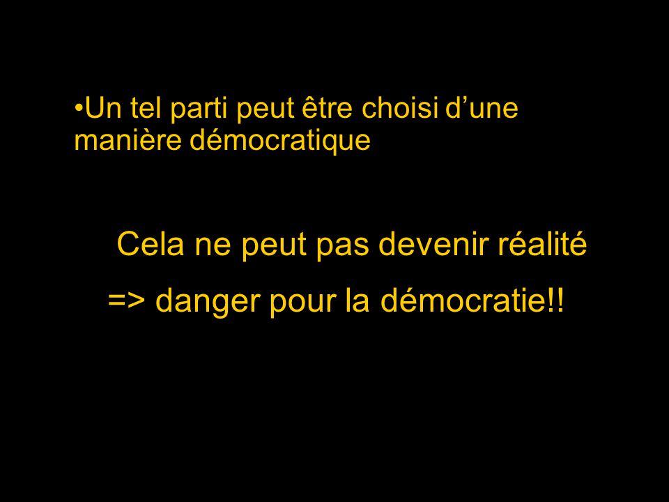 Un tel parti peut être choisi dune manière démocratique Cela ne peut pas devenir réalité => danger pour la démocratie!!