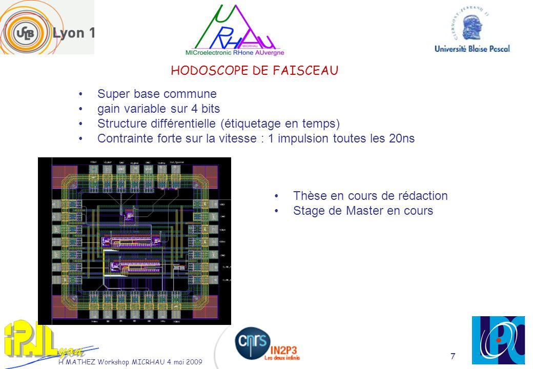 H MATHEZ Workshop MICRHAU 4 mai 2009 7 HODOSCOPE DE FAISCEAU Super base commune gain variable sur 4 bits Structure différentielle (étiquetage en temps) Contrainte forte sur la vitesse : 1 impulsion toutes les 20ns Thèse en cours de rédaction Stage de Master en cours